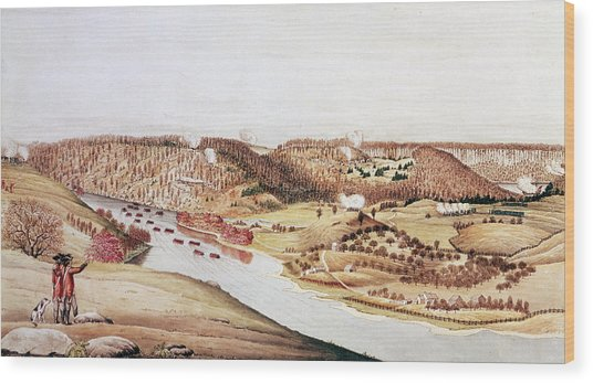 Attack On Fort Washington Wood Print by Fotosearch