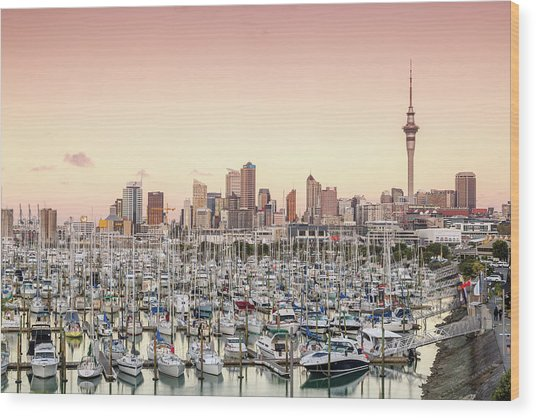 Auckland City And Harbour At Sunset Wood Print by Matteo Colombo