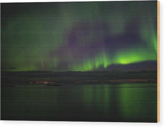 Aurora Borealis Reflecting At The Sea Surface Wood Print