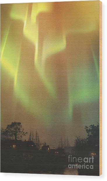 Aurora Borealis,northern Lights Above Wood Print