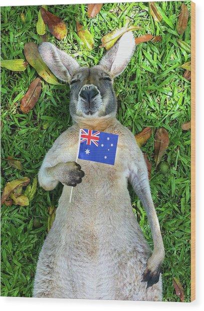 Australian Kangaroo Wood Print by Mb Photography