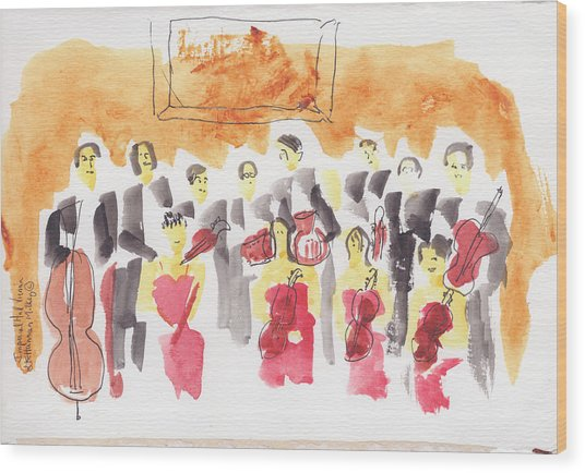 Austria, Vienna, Musicians, Watercolor Wood Print