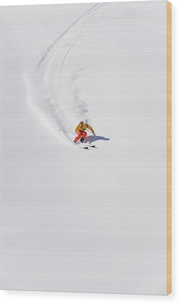 Austria, Young Woman Doing Alpine Skiing Wood Print by Westend61