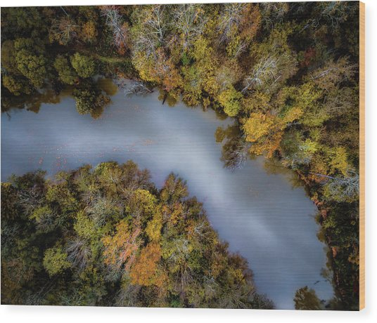 Autumn Arrives At The River Wood Print