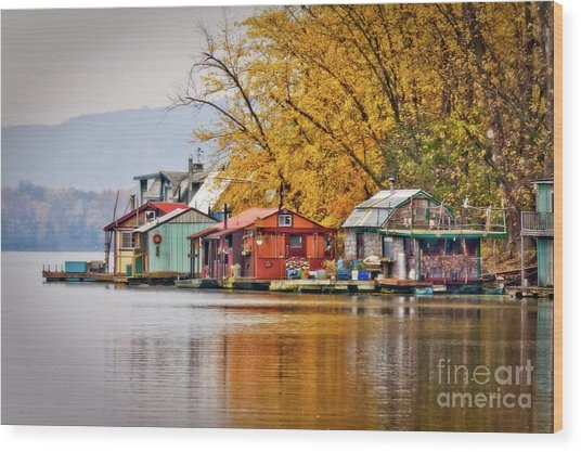 Wood Print featuring the photograph Autumn At Latsch Island by Kari Yearous