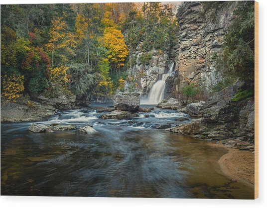 Autumn At Linville Falls - Linville Gorge Blue Ridge Parkway Wood Print