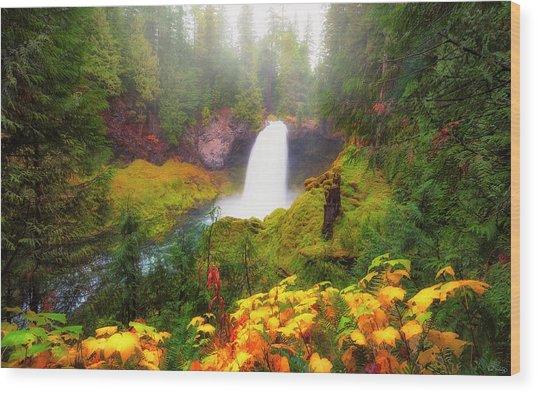 Autumn At Sahalie Falls Wood Print