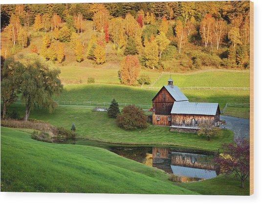 Autumn At Sleepy Hollow Farm, Vermont Wood Print