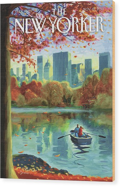 Autumn Central Park Wood Print