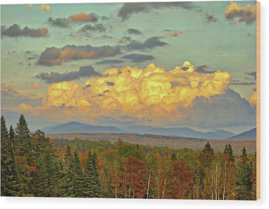 Autumn Clouds Over Maine Wood Print