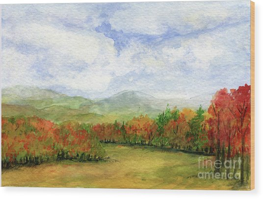 Autumn Day Watercolor Vermont Landscape Wood Print