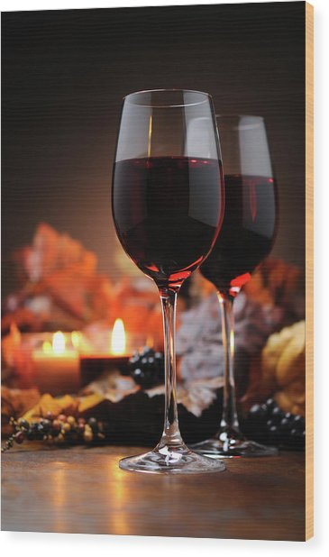 Autumn Decoration With Wine And Candle Wood Print