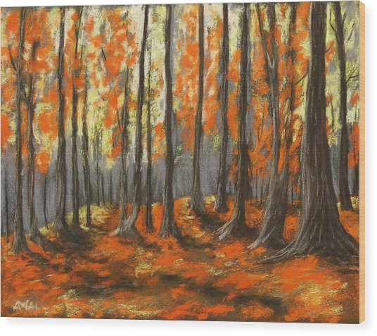 Wood Print featuring the painting Autumn Forest by Anastasiya Malakhova