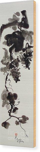 Autumn Grape Vine Painting Wood Print by Nadja Van Ghelue