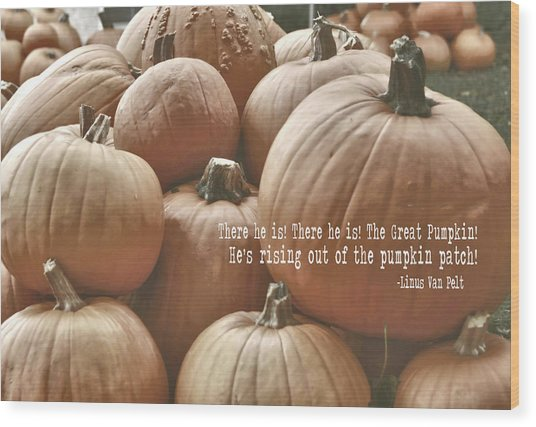 Autumn Harvest Quote Wood Print by JAMART Photography
