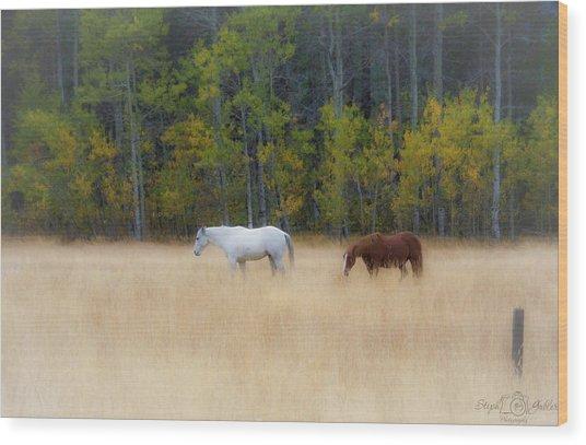 Autumn Horse Meadow Wood Print