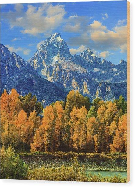 Autumn In Grand Teton Natoinal Park Wood Print by Ron thomas