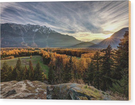 Wood Print featuring the photograph Autumn In The Valley Of Pemberton by Pierre Leclerc Photography