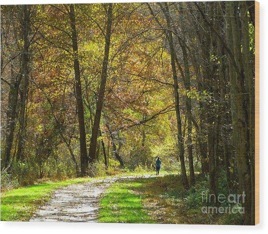 Autumn Jogger Wood Print