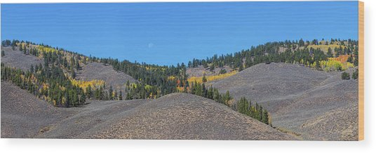 Wood Print featuring the photograph Autumn Moon Setting Panoramic View by James BO Insogna