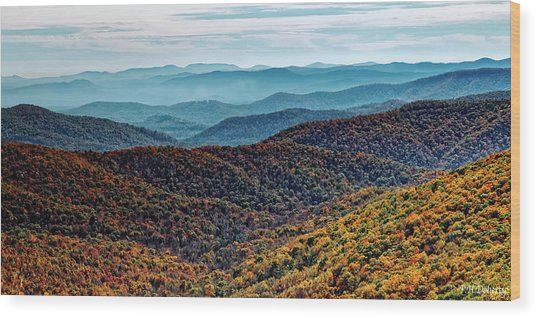 Autumn Morning View Of Pisgah National Forest Wood Print