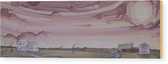 Wood Print featuring the painting Autumn Skies On The Kirby Farm by Scott Kirby
