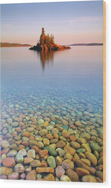 Autumn Sunset On A Tiny Island Wood Print