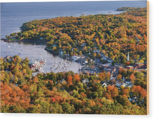 Autumn View Over Small Harbor Town Of Wood Print
