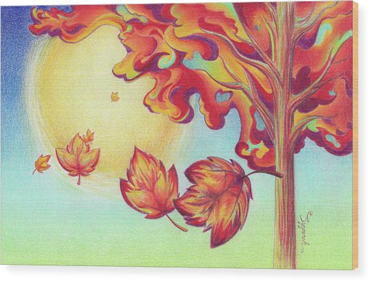 Autumn Wind And Leaves Wood Print