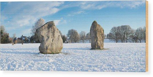 Avebury Stone Circle In The Snow Panoramic Wood Print by Tim Gainey