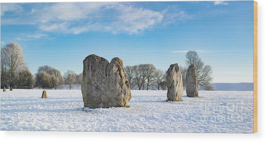 Avebury Stone Circle In The Winter Snow Wood Print by Tim Gainey