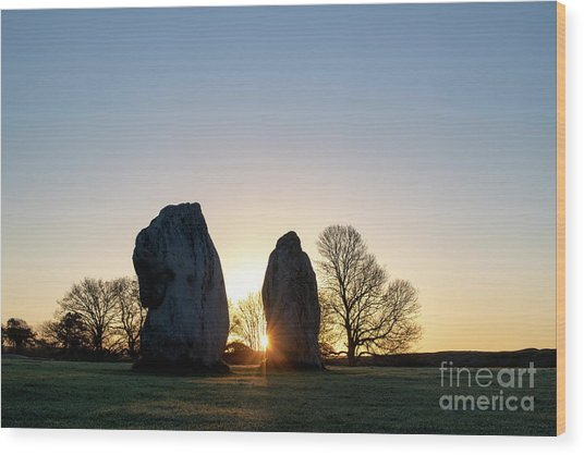 Avebury Stone Circle Sunrise Wood Print by Tim Gainey