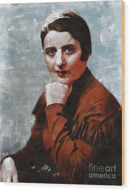 Ayn Rand, Literary Legend Wood Print