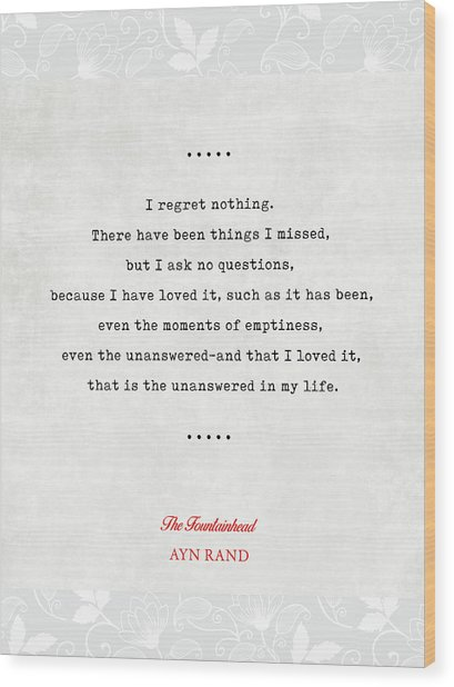 Ayn Rand Quotes 4 - The Fountainhead Quotes - Literary Quotes - Book Lover Gifts - Typewriter Quotes Wood Print