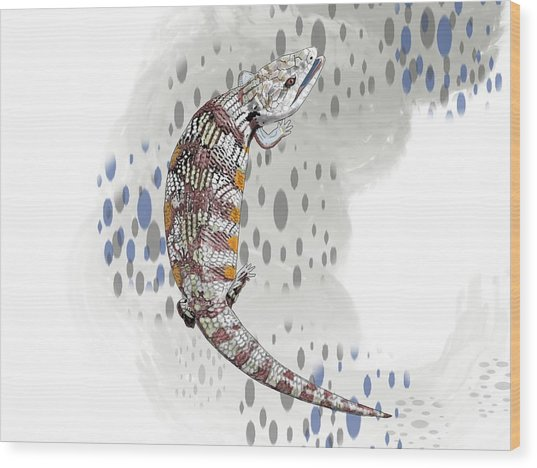 B Is For Blue Tongue Lizard Wood Print