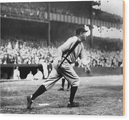 Babe Ruth Batting During The 1926 Wood Print by New York Daily News Archive