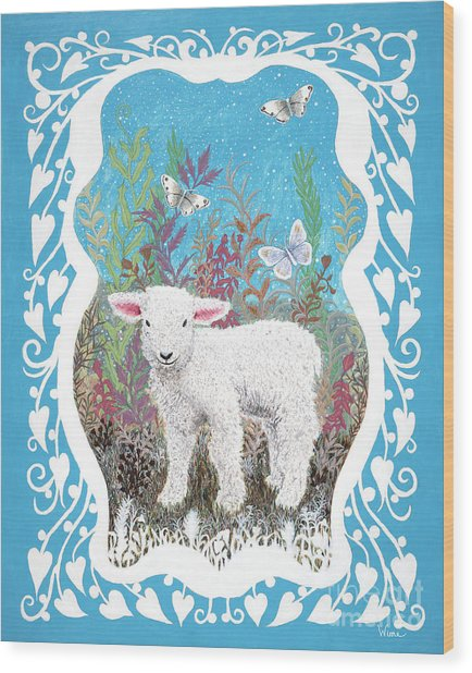 Baby Lamb With White Butterflies Wood Print