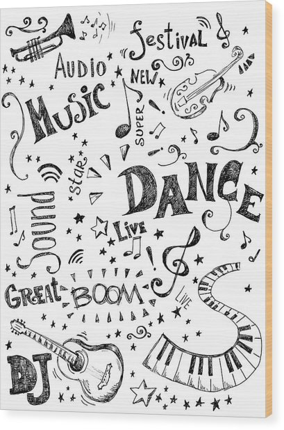 Background Made Up Of Music Doodles Wood Print by Kalistratova