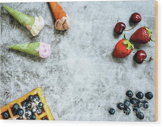 Background Of Tasty And Sweet Foods With Red Fruits And Waffles, Wood Print