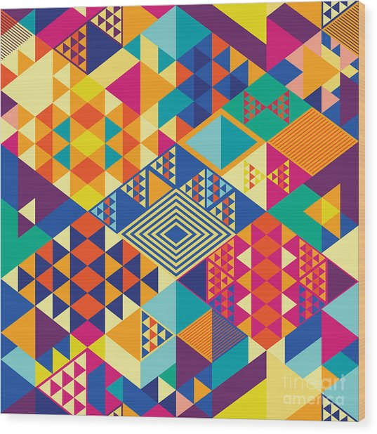 Background With Decorative Geometric Wood Print