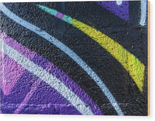Background With Wall Texture Painted With Colorful Lines. Wood Print