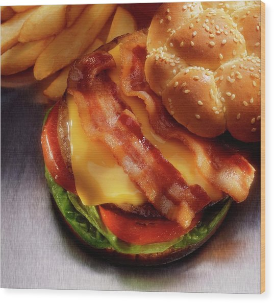 Bacon Cheeseburger With French Fries Wood Print