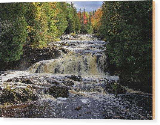 Bad River Cascade Wood Print