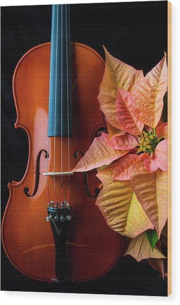 Baeutiful Violin And Poinsettia Wood Print