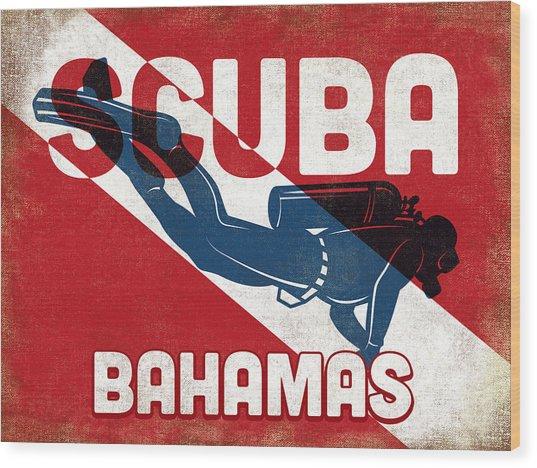 Bahamas Scuba Diver - Blue Retro Wood Print by Flo Karp