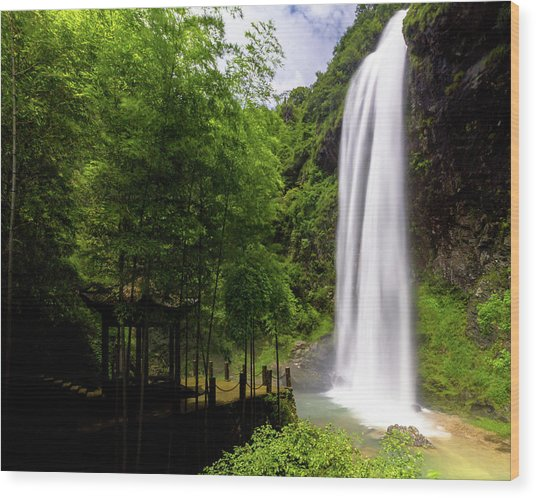 Wood Print featuring the photograph Baiyun Waterfall II by William Dickman