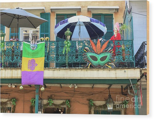 Balcony Party New Orleans Wood Print by John Rizzuto