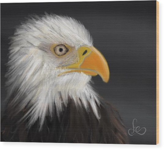 Wood Print featuring the pastel Bald Eagle by Fe Jones
