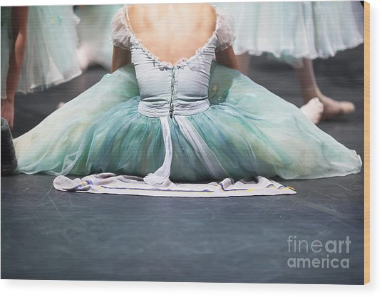 Ballerinas In The Movement. Behind The Wood Print