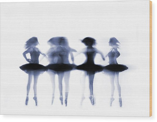 Ballet Dancer Pirouetting On White Wood Print by Phil Payne Photography
